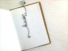 Personalized Bookmark with Heart and Bead, Personalized Wire Bookmark with Heart by kraze4paper on Etsy https://www.etsy.com/listing/211353149/personalized-bookmark-with-heart-and