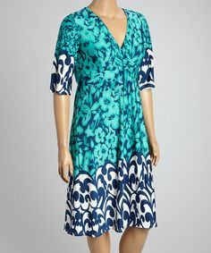 Another great find on #zulily! Teal & Navy Floral Surplice Dress - Plus by Reborn Collection #zulilyfinds