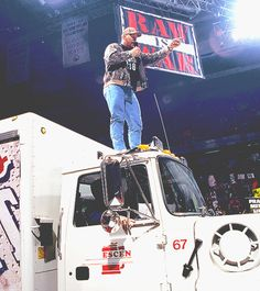 """""""Stone Cold"""" Steve Austin drives a beer truck to the ring, gives The Rock and the McMahons a beer bath: March 22, 1999  One of the all-time great moments from Monday Night Raw: The Texas Rattlesnake drives a Coors Light truck to the ring and gives The Rock, Vince McMahon and Shane McMahon a beer bath. I really hope this made it into the WWE '13 game.  [[MORE]]"""