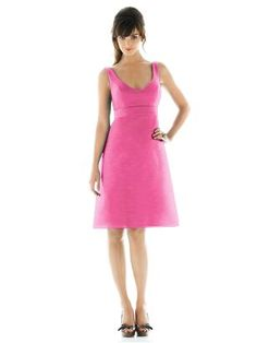 scoop neck bridesmaid dress, tea lenght bridesmaid dresses. in a large selection on colors. click her to see more http://www.modelbride.com/Alfred-Sung-Style-D435-Prodview.html $154.00