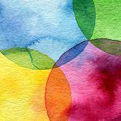 Círculo de acuarela abstracta pintado de fondo