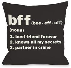 One Bella Casa BFF Definition Black and White Pillow