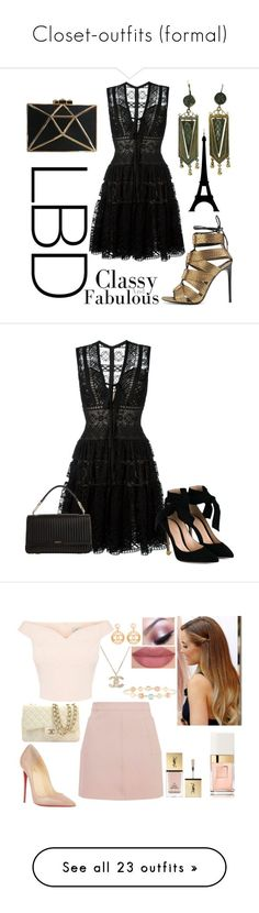 """""""Closet-outfits (formal)"""" by hallierosedale ❤ liked on Polyvore featuring Elie Saab, Tom Ford, Gianvito Rossi, DKNY, Judith Leiber, Topshop, Chanel, Christian Louboutin, Too Faced Cosmetics and Yves Saint Laurent"""