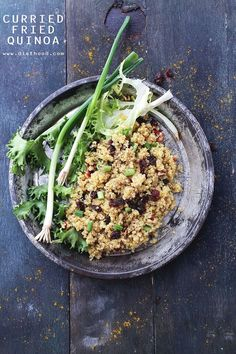 Curried Fried Quinoa | www.diethood.com | Crunchy pecans, sweet raisins, and flavorful curry powder make this Curried Fried Quinoa the perfect warm and light side dish.