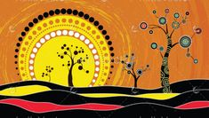 Illustration about Tree on the hill, Aboriginal tree, Aboriginal art vector painting with tree and sun. Illustration based on aboriginal style of dot background. Illustration of environmental, flower, australia - 113118291 Aboriginal Art Symbols, Aboriginal Dot Painting, Aboriginal Art Animals, Aboriginal Culture, Aboriginal Art Australian, Australian Art, Australian Animals, Sun Painting, Dot Art Painting