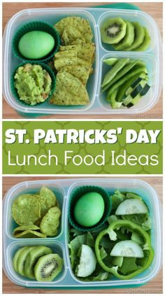 St Patricks Day Food Ideas for Lunch - Great green food ideas for packing in lunches for school or work. These St. Patrick's Day food id - Lunch Snacks, Lunch Recipes, Healthy Snacks, Easter Recipes, Egg Recipes, Light Recipes, Recipies, St Patrick Day Snacks, St Patricks Day Food