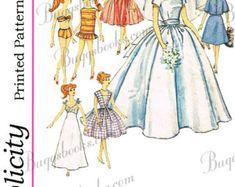 Vintage Simplicity 6208 11 inch dolls such as barbie Barbie Sewing Patterns, Vintage Sewing Patterns, Clothing Patterns, Bodice Pattern, Copy Print, Doll Shop, Etsy Uk, 1950s Fashion, Beachwear