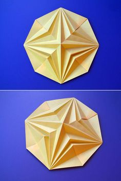 Stella in ottagono 2, variante - Octagonal Star 2, variant: designed (August 2007) and folded by Francesco Guarnieri. From one uncut square of paper, 21 x 21 cm.