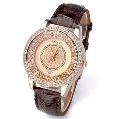 Ybely New Champagne Party Dress Style Shinning Bright Crystal Womens Wrist Watch