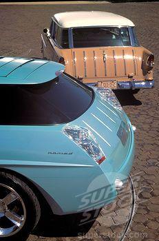 Chevy Nomad 1955 1950s vintage tan blue Shoebox cars street