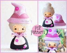 PDF. The witch (from Hansel and Gretel). Plush Doll Pattern, Softie Pattern, Soft felt Toy Pattern.