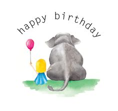 Elephant and little girl watercolor - happy birthday