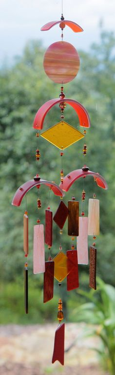 CUSTOM ORDER for DIANE Tequila sunrise,,Recycled Beach Glass Wind Chime,Mobile,Stained Glass,Ornament, Sun Catcher, windchimes