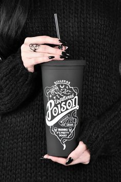 Poison Cold Brew Cup Pour yer fav drinks to take on-the-go [ice coffees, herbal brews, vodka whatevs.] in our fun statement cold-brew cup, holds a large drink perfectly. Casa Rock, Coffee Cups, Tea Cups, Coffee Thermos, Coffee Drinks, Coffee Beans, Goth Home Decor, Gothic Bathroom Decor, Gypsy Decor