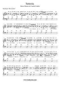 Senorita Kolay Piyano Notasi Pi Yano Flut Muzik Notalari