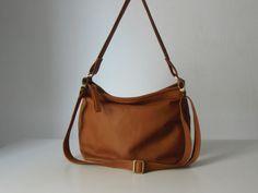 Leather hobo purse / women leather hobo bag / tan leather handbag / MEDIUM SIZE on Etsy, $188.41 CAD