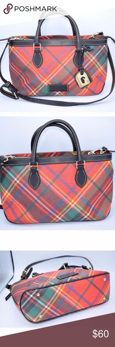 DOONEY & BOURKE PLAID RED TARTAN EAST/WEST ZIP TOP This purse has a hang tag, zip top, gold tone hardware, footed bottom, double handles and shoulder straps that are adjustable. The inside has a zipper compartment, slip compartment, key holder and 2 wall compartments.   Measurements: Height: 7'' Length: 14'' Depth: 5'' Drop: Handle = 8'', Shoulder strap = 22''  Excellent Condition. Clean and odor free Dooney & Bourke Bags Shoulder Bags