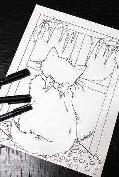 Kitten Colouring Page, Christmas Colouring Page, Cat, Kitten Forest Coloring Pages, Bear Coloring Pages, Printable Coloring Pages, Colouring, Adult Coloring, Christmas Coloring Pages, Christmas Colors, Cats And Kittens, How To Draw Hands