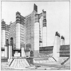 Futurist architecture by Sant `Elia, I think. Amazing imagination and draftsmanship!