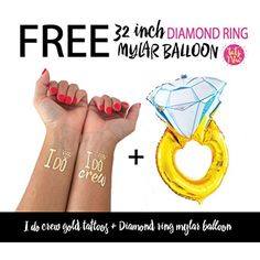 Bachelorette combo pack - I do crew tattoos   Diamond ring mylar balloon, bridal party, bridesmaid tattoo, bride, hens party, wedding party, bachelorette party decorations and ideas ** Read more reviews of the product by visiting the link on the image. (This is an affiliate link and I receive a commission for the sales)
