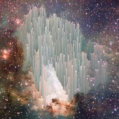 "Image from the Hubble telescope, comment is Mary Gossard's. ""The cosmic ""ice sculptures"" of the Carina Nebula. Scientists are still trying to explain the beautiful spires.A nebula from Latin: ""cloud""is an interstellar cloud of dust, hydrogen, helium and other ionized gases. Originally, nebula was a name for any diffuse astronomical object, including galaxies beyond the Milky Way."""