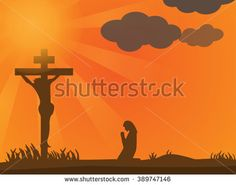 silhouette of woman at the cross at sunset.