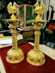 Gold pooja & Celebration decoration Antic Jewellery, Rituals Set, Silver Pooja Items, Silver Lamp, Pooja Room Design, Indian Jewelry Sets, Pooja Rooms, Jewelry Model, Silver Gifts
