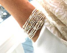 Venus Pearl Moonstone and Crystal Extra Long Seed Bead Wrap
