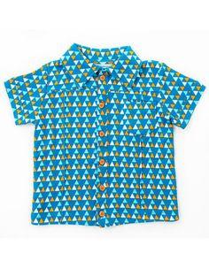 Blauw hemdje Hugo met triangelprint - Lily-Balou - Pepatino.be - Webshop kinderkleding - Shop Online - Afhaalpunt in Aalst