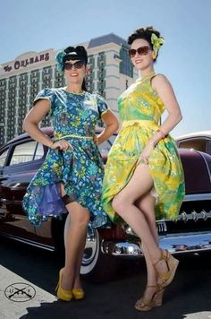 Legs for days with National Director Scarlette Saintclair and Bay Area Secretary Page Rush at last year's Viva Las Vegas car show!  Photo: 11.B_photography