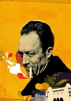 "Albert Camus Emmanuel Polanco for Philosophie magazine : dossier ""Albert Camus… Albert Camus, August Strindberg, France Football, Joy Art, Art Prompts, Weird Art, Strange Art, Life Quotes Love, Z Arts"