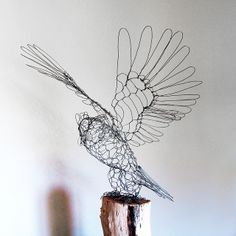 Great Horned Owl Wire Sculpture by Ruth Jensen