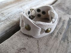 Upcycled Suede Leather Studded Ecru Cuff Size by lillianschmoo, $19.95