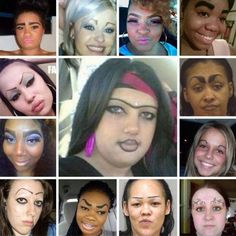 World's Worst Drawn On Eyebrows - Epic Eyebrow Fails ---- funny pictures hilarious jokes meme humor walmart fails Bad Eyebrows, How To Draw Eyebrows, Worst Eyebrows, Eye Brows, Funny Eyebrows, Eyebrow Fails, Eyebrow Pencil, Eyebrow Game, Tattoo Fails