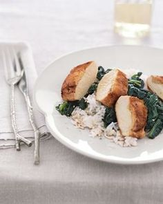 Ginger-Stuffed Chicken With Sesame Spinach from realsimple.com #myplate #protein #vegetables