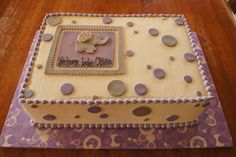 Purple and grey elephant baby shower sheet cake with polka dots