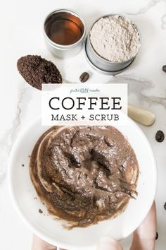 This mask is a Use it on your face and body before or in the shower for a wonderful exfoliating scrub. Then allow the mask to rest on your skin for the deep cleansing and mineralizing benefits of rhassoul clay. This is seriously one of my favorite Diy Face Scrub, Diy Scrub, Diy Coffee Face Scrub, Java, Diy Peeling, Coffee Face Mask, Mask For Oily Skin, Sugar Scrub Homemade, Clay Face Mask