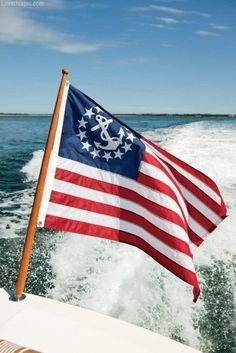 Beautiful American Nautical Flag & The Ocean on a boat :) Happy 4 Of July, Fourth Of July, Style Nautique, Fortune Favors The Bold, Delta Gamma, Sigma Tau, Home Of The Brave, Nautical Fashion, Nautical Style