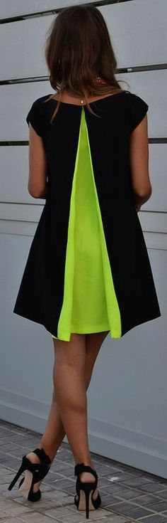Renata Giglio Black Neon Green Pleat Back Little Dress ~ Summer Into Fall Outfits ~ 60 NewStyles - Style Estate -