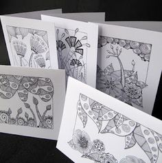 Zentangle cards. Christmas ones too.