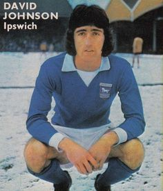 """18th November 1972. Ipswich Town centre forward David Johnson prior to kick off against Wolves, on a snowy Molinuex. Trevor Whymark scored the winner but to quote John Motson """"And Johnson fashioned it""""."""