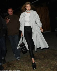 Still on the go: Gigi Hadid was spotted leaving The Nice Club in the West Hollywood district of Los Angeles on Saturday night wearing the same clothes she had on when she started her day in New York