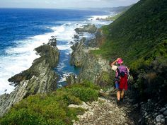 Otter trail, near Stormsriver mouth, Garden Route, South Africa Walking Routes, Bucket List Destinations, Nelson Mandela, Travel Memories, Africa Travel, Hiking Trails, South Africa, Beautiful Places, Scenery