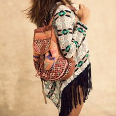 B☮H☮ Babe • casual fringed cardigan and backpack
