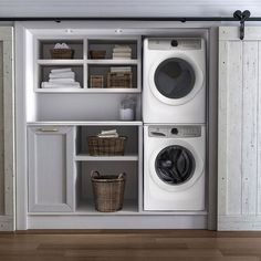 Stacked washer and dryer in closet