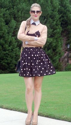Style #inspiration by TeodorasLookbook.com; flared polka dot skirt and graphic sweater