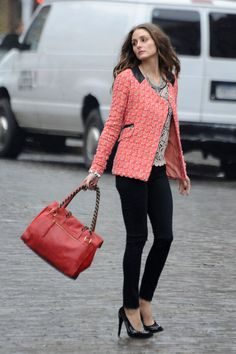 Olivia Palermo in NYC Dec 2010 working the camera for a photo shoot.  Love the jacket and shoes in particular.