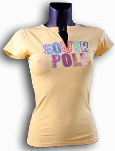 Southpole T-shirt Shirt Top Oberteil Orange blau und silber glitzernden Aufdruck