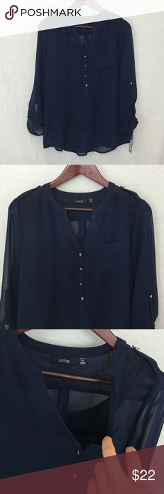 APT. 9 - Blue Chiffon Blouse New with tags! Dark blue sheer chiffon blouse, front v neckline, 4 mid way button down, gold buttons, attached under Cami (easy remove if you don't like), long sleeve with gold button closure at wrist, 3/4 sleeve if desired & button secured, front chest pocket, 100% polyester ❌TRADES❌ Apt. 9 Tops Blouses