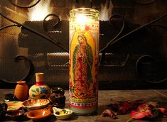 Veladora of La Virgen De Guadalupe. I grew up seeing this around...and i can just close my eyes and smell the burning candle, its a very beautiful aroma and it brings peace to my heart! :)